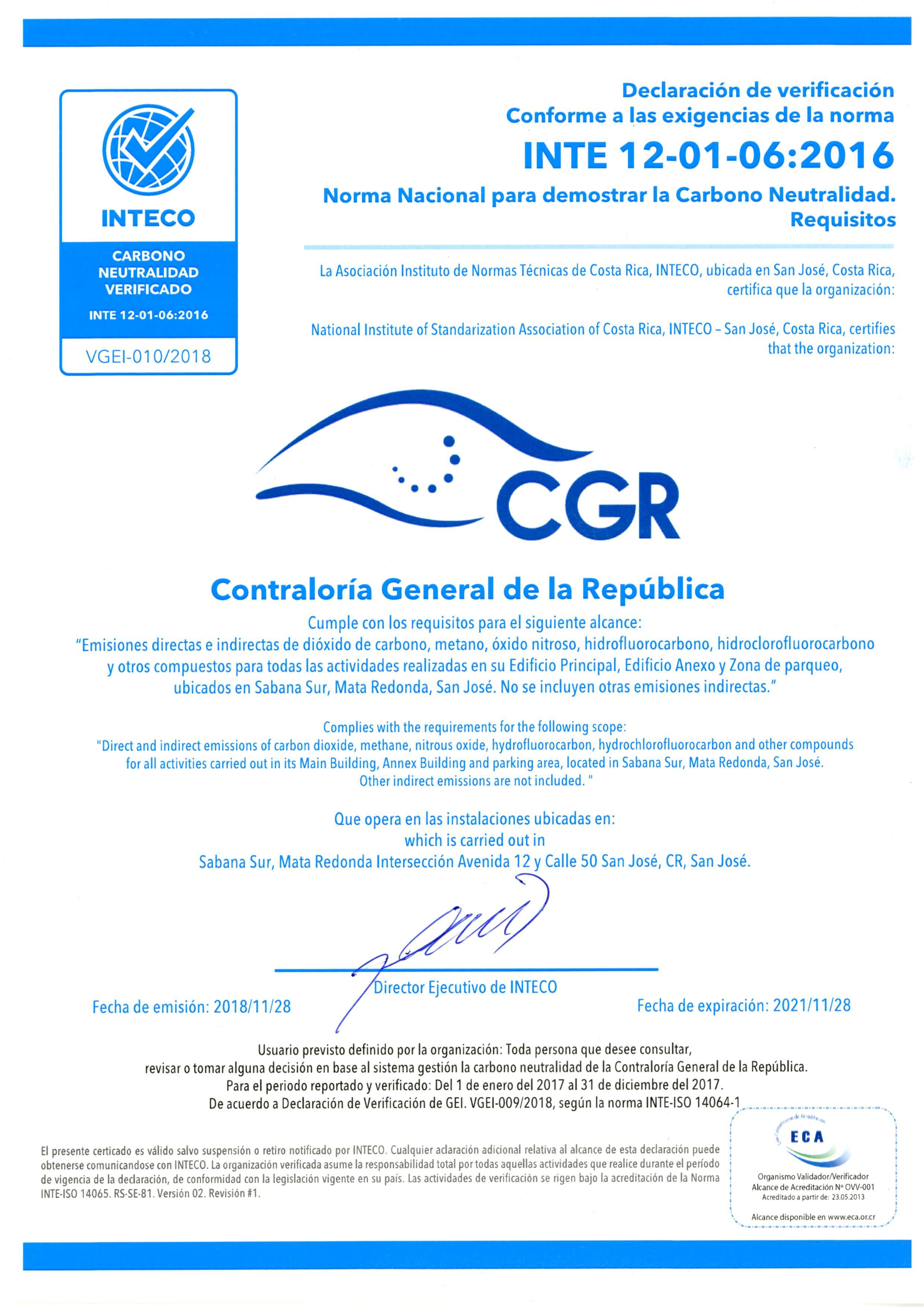 Certificado carbono neutral